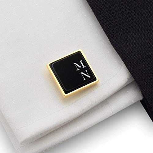 Engraved Cufflinks, Custom gold cufflinks, Personalized cufflinks for men Gold, 925 Silver 14K gold plated Black Onyx stone, Gift Message, Box, Handmade