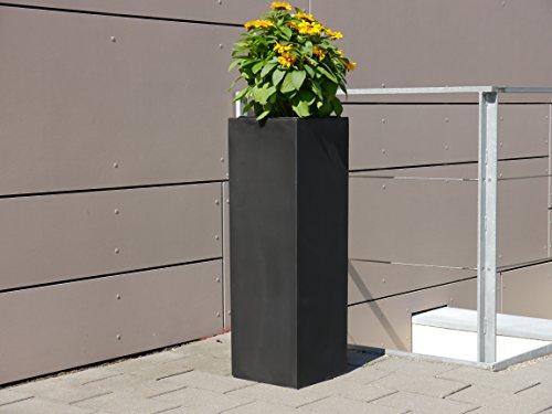 Großer Pflanzkübel aus Fiberglas der LANDESGARTENSCHAU BADEN-WÜRTT. 38x38x100cm in schwarz, Blumenkübel, Pflanztöpfe, Pflanzgefäße