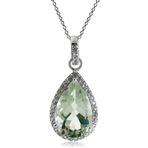 (4.31ct. 14x9MM Natural Green Amethyst & Topaz 925 Sterling Silver Drop Pendant w/ 18