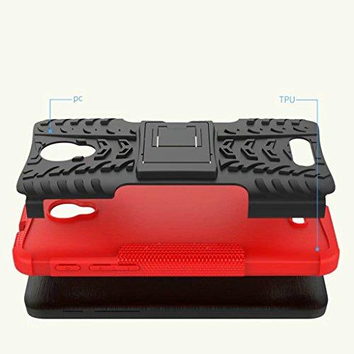 Alcatel POP4 Plus/POP4+ Funda, 2in1 Armadura Combinación A Prueba de Choques Heavy Duty Escudo Cáscara Dura para Alcatel POP4 Plus/POP4+ (Azul) Rojo