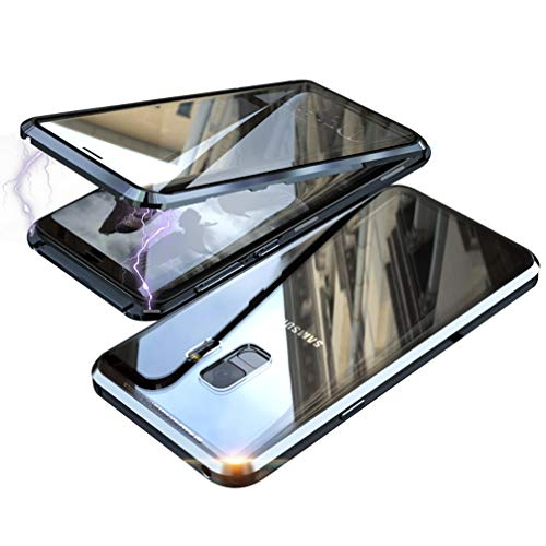 UMTITI Compatible Samsung Galaxy S9 Case, Magnetic Clear Double-Sided Tempered Glass Cover with a Screen Cleaning Paper (Black)