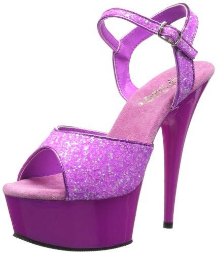 Pleaser Women's Delight-609 Ankle-Strap Sandals Purple (Neon Purple Glitter) K7pVqXdYGr