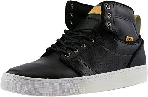 Vans Mens Alomar Luxe Reverse Sneaker Alta Moda In Pelle Alla Caviglia Nero / Bianco