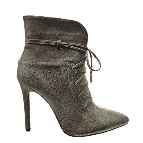 Sexy Sapatos Angkorly Metálico Cinza Lace Salto Alto Boots 5 Estilete 10 Centímetros Ankle Femininos Alta wXw4Hfq