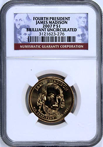 2007 P James Madison Presidential Dollar One Dollar Brilliant Uncirculated NGC ()