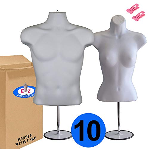 10-Pack Male + Female Mannequin Torso Set, Dress Form Hollow Back Body Tshirt Display, with Stand for Counter by EZ-Mannequins for Craft Shows, Photos or Design, Easy to Assemble and Store, S-M Sizes. by EZ-Mannequins (Image #7)