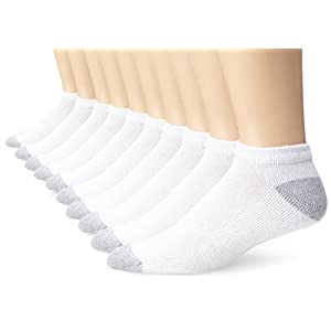 Fruit of the Loom Men's Value 10 Pack Low Cut Socks, White, Shoe Size 6-12/Sock Size 10-13