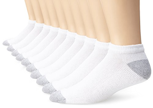 Fruit of the Loom Men's Value 10 Pack Low Cut Socks,  White,