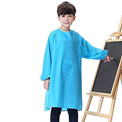 Furu Donghai Kids Art Craft Apron Waterproof Smock with Long Sleeve and 1 Roomy Pockets for Kitchen, Classroom, Community Event Crafts Art Painting Activity (Rosd red, XL)