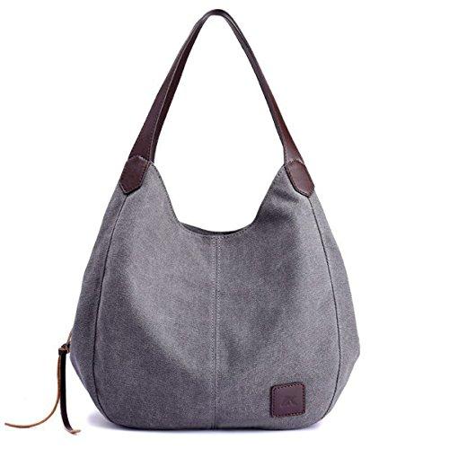 90 Eagle Hobo Canvas Handbag Vintage Women Tote Shoulder Bags Multi Compartment (Multi Compartment Shoulder Tote)