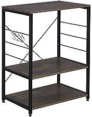 WOLTU RGB9309 regał kuchenny regał stojący uchwyt do kuchenki mikrofalowej regał metalowy regał z drewna i stali, z 3 półkami, ok. 60 x 40 x 82 cm
