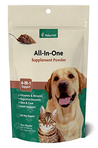 NaturVet - All-in-One Support - Helps Support Your Pet's Essential Needs & Overall Health - Digestion, Skin, Coat, Vitamins & Minerals, Joint Support - 13 oz Powder