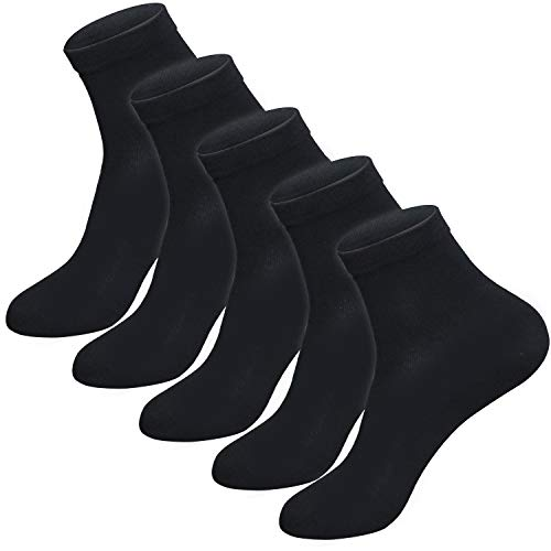Granbest Men's Dress Socks, 5-Pack Classic Solid Cotton Crew Socks (5 Pairs(Black 5))