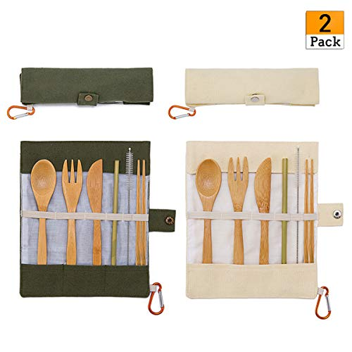2 Pack Natural Bamboo Travel Cutlery Kit include Knife, Fork, Spoon, Straw and Cleaning Brush for Camping Office Lunch ()