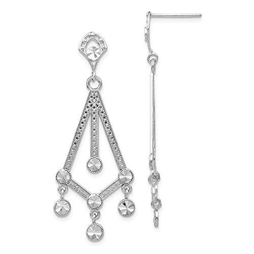 FB Jewels Solid 14K White Gold Diamond-Cut Chandelier Earrings]()