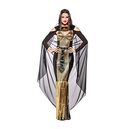 YaXuan Women's Halloween Costumes,Cosplay Sequined Long Dress Goddess Costume,Halloween/Carnival Festival/Holiday (Color : Picture Color, Size : M)