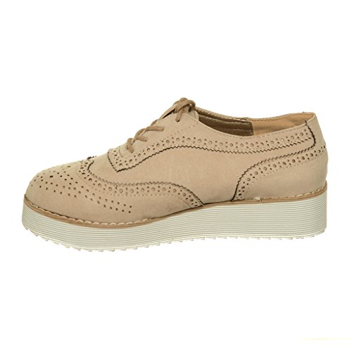Shoewhatever Plataforma Con Cordones Perforada Para Mujer Oxfords Beige