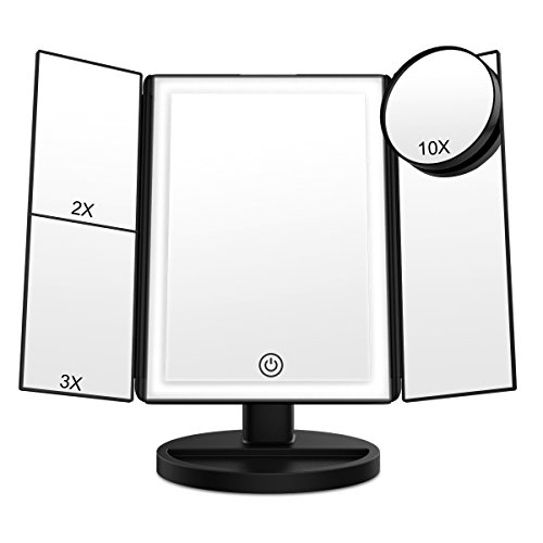 BearMoo Makeup Vanity Mirror with 36 LED Lights, Touch Screen 3X 2X Magnification Lighted Makeup Mirror with Detachable 10X Magnifying Spot Mirror, 180°Adjustable Rotation, Countertop Cosmetic Mirror by BearMoo