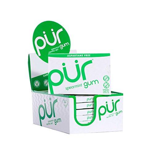 PUR Gum Aspartame Free Spearmint Gum, 9 Count (Pack of 12)