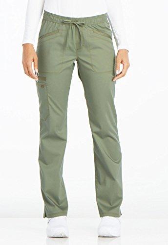 Dickies Women's Essense Mid Rise Straight Leg Drawstring Pant, Olive, Medium Petite