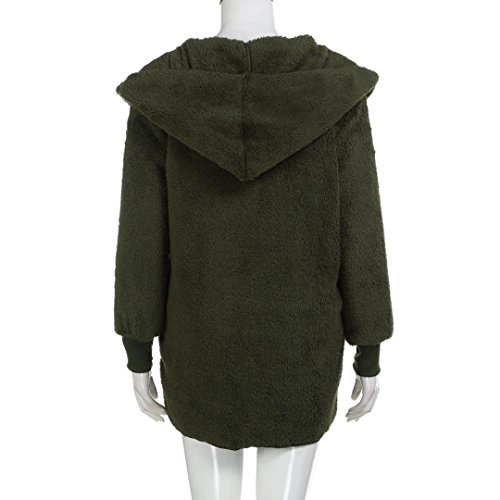 Army Coat Tops Hooded Ladies Long Loose Sweater Jumper Mingfa Faux Winter Women Green Fur Cardigan q7OXWfx