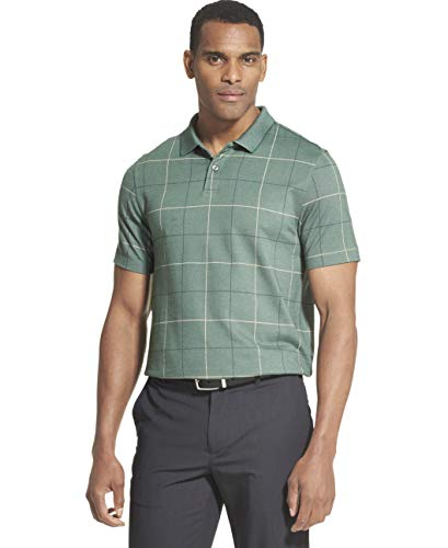 Windowpane Mens - Van Heusen Men's Flex Short Sleeve Stretch Windowpane Polo Shirt, Green Cilantro, Medium