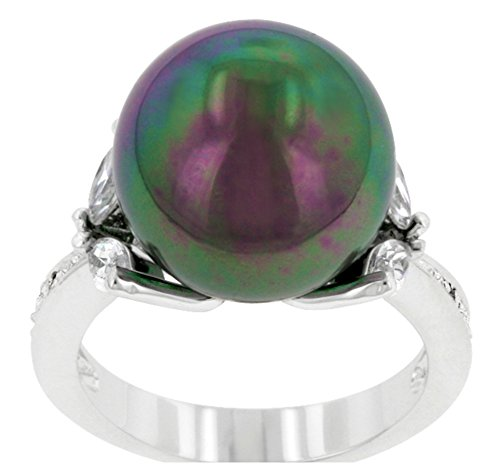 Beloved Sparkles - Bitki Tahitian Green Black Large Simulated Pearl Cocktail Ring (8)