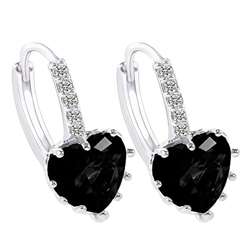 Fashion Dangle Heart Earrings Sterling Silver Stud Earrings for Women Girls with Swarovski Crystal (Black)