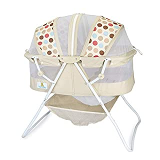 Big Oshi Emma Newborn Baby Bassinet - Portable Bassinet for Boys or Girls - Perfect for Bedside, Indoors, or Outdoors - Lightweight for Travel - Canopy Netting Cover - Wood Bed Base, Beige
