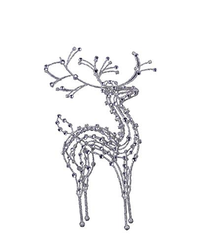 (Transpac Imports D2105 Metal Glitter Wire Reindeer Decor, Silver)