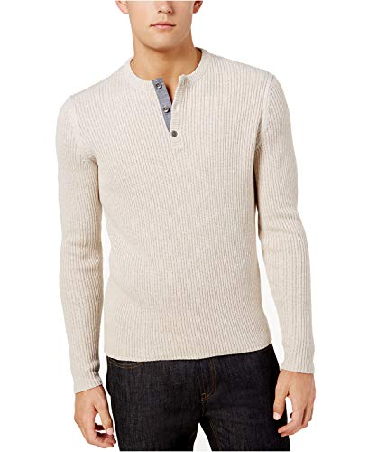 (American Rag Mens Ribbed Long Sleeves Henley Sweater Beige XXL)