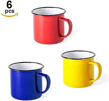 Home Fan Line® - Set de 6 tazas metálicas vintage o retro, tres colores variados y caja individual. Ideal para café o té (Rojo, Azul y Amarillo, 6 ...