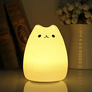 Squishy Cat Night Light : Amazon.com: S&G night light Cute Smile Cat Silicon LED Desk Lamp with 7 Changing Color for Baby ...