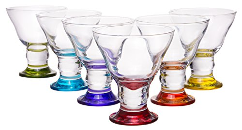 Coral Orion Savory Sweets Footed Ice Cream Bowl, Glass Dessert Cups For Parfait Fruit Salad or Pudding, Assorted Colors, Set of 6, 8.5 oz