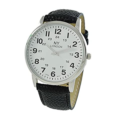 Rosemarie Collections Men's Black Vegan Leather Round Face Unisex Watch (Vegan Leather Watch Man)