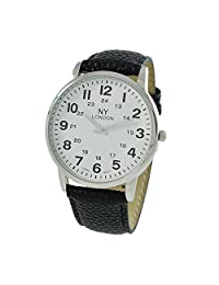 Rosemarie Collections Men's Black Vegan Leather Round Face Unisex Watch