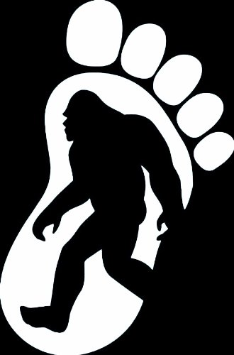 "BIGFOOT PRINT SILHOUETTE 5"" (color: WHITE) Vinyl Decal Window Sticker for Cars, Trucks, Windows, Walls, Laptops, and other stuff."