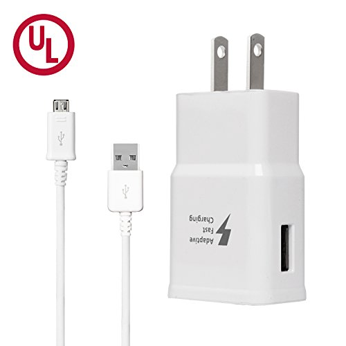 - Adaptive Fast Charger Kit, Wall Charger Apply to Samsung Galaxy S7/S7 Edge/S6/Note5, Recharger Kit Include Charging Adapter & Micro-USB Cable, Aolerx(White)
