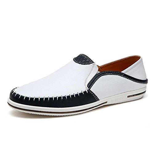 Mocasines Hombre Huan Libre Blanco Planos Deporte Transpirables Zapatos Confortables De Zapatillas Aire Al Conducción Ocasionales Para rIqwtAn4xq