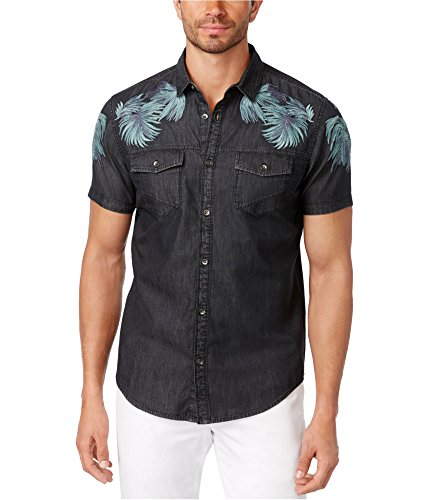 INC International Concepts Men's Embroidered Denim Shirt (XXL, Deep Black)