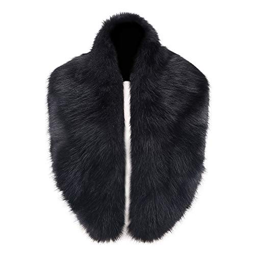 Caracilia Women's Winter Fake Faux Fur Scarf Wrap Collar Shawl Shrug Black CA96 (Black Leather Jacket With White Fur Collar)