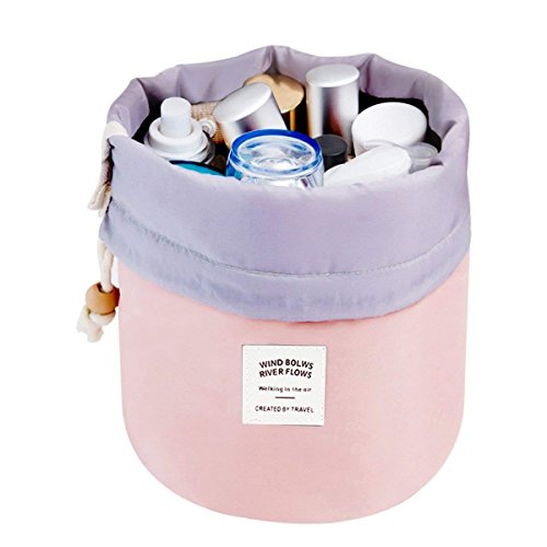 Travel Cosmetic Bags Barrel Makeup Bag,Women &Girls Portable Foldable Cases,Euow Multifunctional Toiletry Bucket Bags Round Organizer Storage Pocket Soft Collapsible,Waterproof. (Pink)