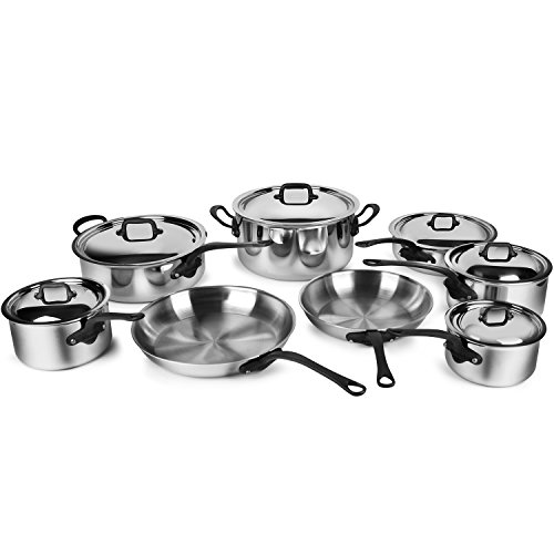 Mauviel M'Cook Pro 5-ply Stainless Steel Cookware Set, 14-