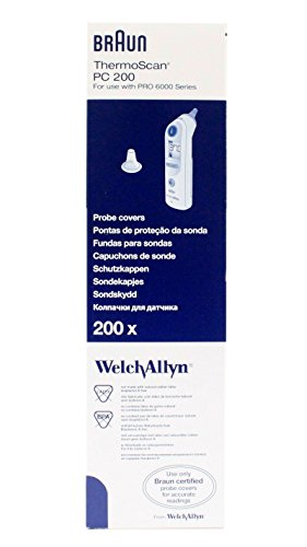 Ear Thermometer Disposable Probe Covers (Welch Allyn 06000-005 Braun Thermoscan Pro 6000 Probe Covers - 200/BX)