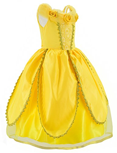 Princess Belle Costume Deluxe Party Fancy Dress Up For Girls with Accessories 10-12 Years(150cm) by Party Chili (Image #4)