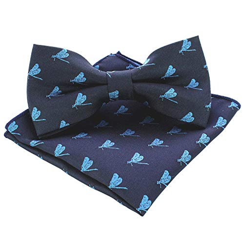 JEMYGINS Dragonfly Bow Tie and Pocket Square Sets for Men(5) ()