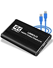 LEADNOVO Audio Video Capture Card, HDMI USB3.0 4K 1080P 60fps Reliable Portable Video Converter for Game Streaming Live Broadcasts Video Recording(Black)