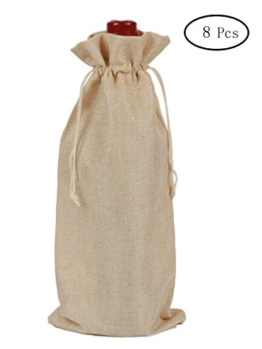TBUY 8 Pack Burlap Gift Bags Linen Wine Bags With Drawstrings Wine Bottle Protector Party Wedding Favor 6