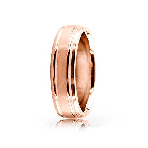 Solid 10K Rose Gold Satin Designer Wedding Band 6 mm