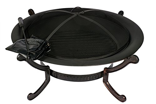 HIO 39-Inch Outdoor Fire Pit with Spark Screen, Steel Wood Grate, Protective Cover and Safety Poker